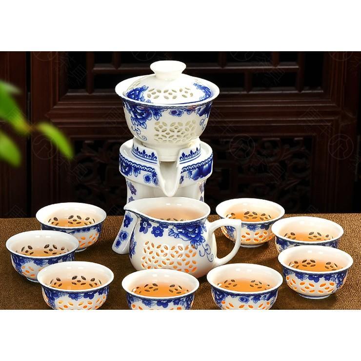 整套防燙全半自動茶具套裝玲瓏鏤空青瓷陶瓷功夫懶人茶器(限宅配)