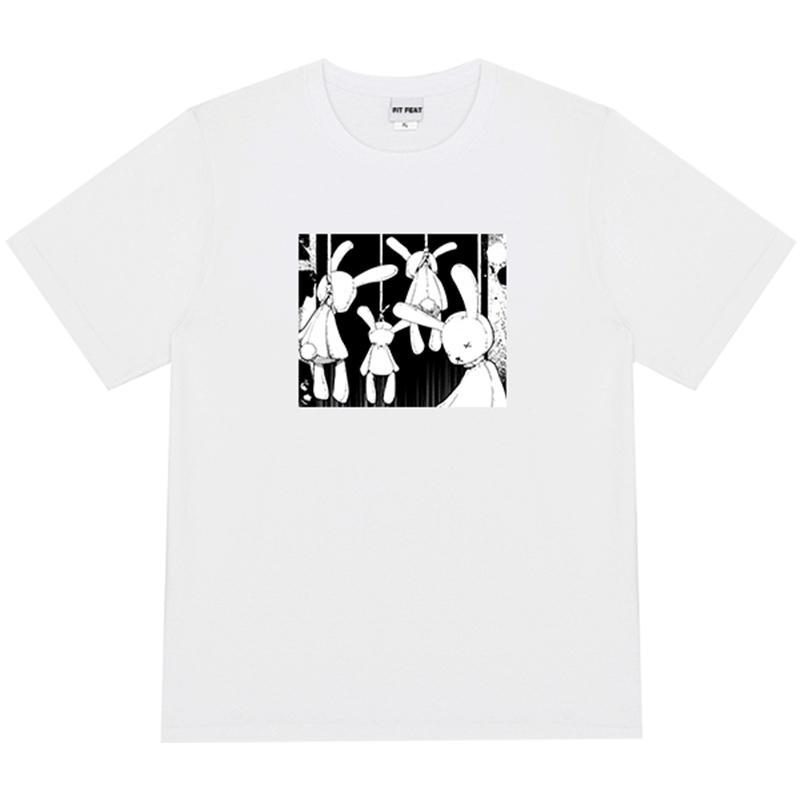 圓領T 短袖男女 美式復古惡搞暗黑兔子印花漫畫短袖T恤女潮學生二次元寬松上衣