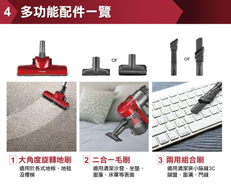【CHIMEI 奇美】手持多功能強力氣旋吸塵器 (VC-HB1PH0) [二手]