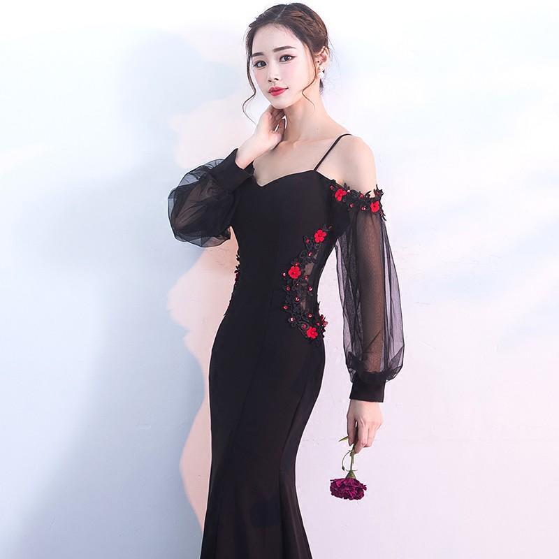 黑色顯瘦晚禮服2017新款秋季長袖宴會主持人長款女性感修身魚尾裙