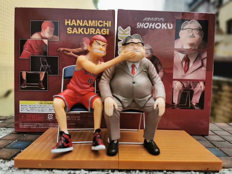 【紫色風鈴3】灌籃高手 櫻木花道 給 安西教練 做瘦臉 按摩凳子雕像套裝 港版