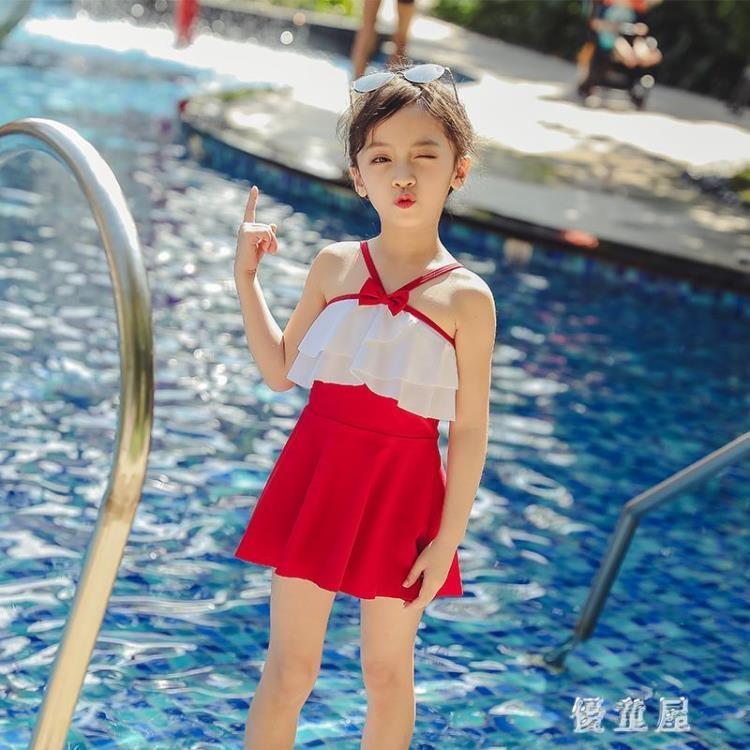 女童游泳衣小中大童寶寶連體小公主裙式可愛時尚泳裝 兒童泳衣女  LN1624❤❤--一級棒