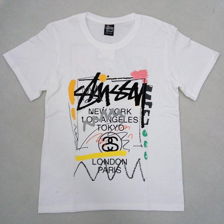 16SS STUSSY WT Doodle Tee塗鴉歐美潮牌西海岸情侶休閑短袖t恤衫