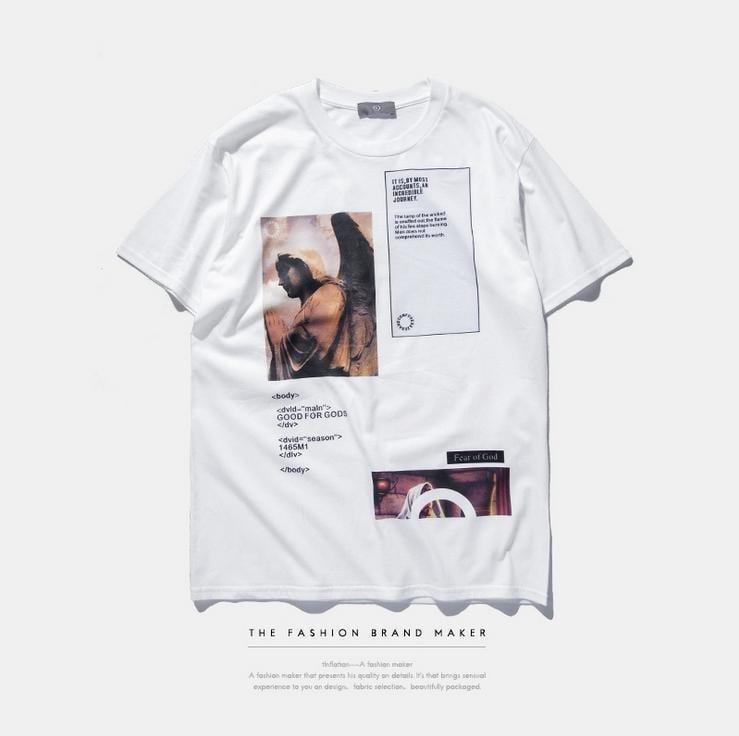 複古港風日系街頭數碼印花tee宗教聖母耶稣天使印花T恤情侶短袖潮