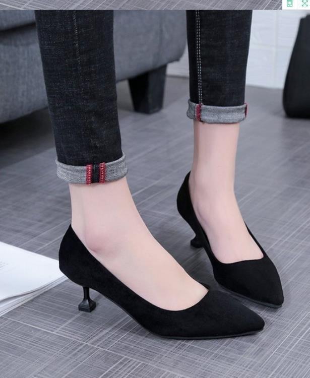 999小舖高跟鞋女淺口細跟尖頭舒適低跟三公分3cm黑色工作鞋女士