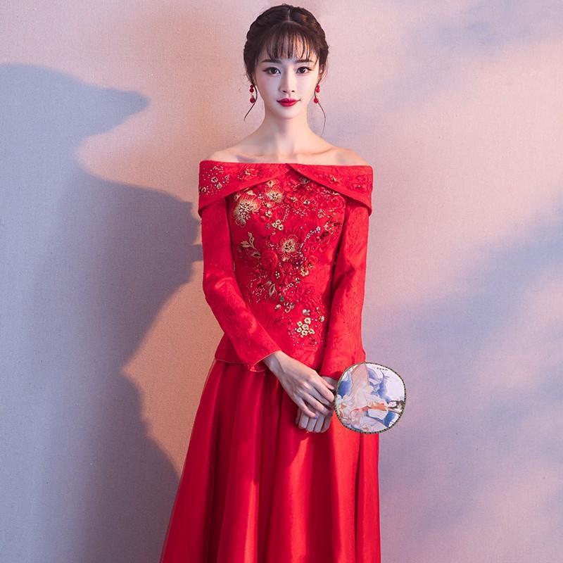紅色旗袍新娘2017新款敬酒服冬季結婚改良中式禮服長款一字肩長袖