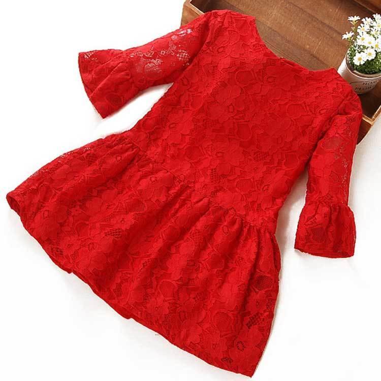 4童裝女童5夏季連衣裙8女寶寶春秋紅裙子10歲兒童韓版純棉蕾絲裙