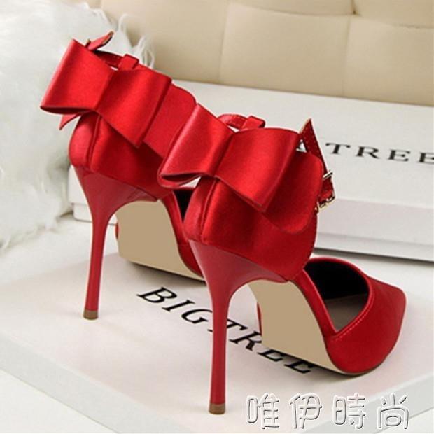 紅色婚鞋 春秋新款紅色新娘高跟鞋女性感百搭細跟結婚鞋一字扣尖頭單鞋 一級棒Al新品 全館免運