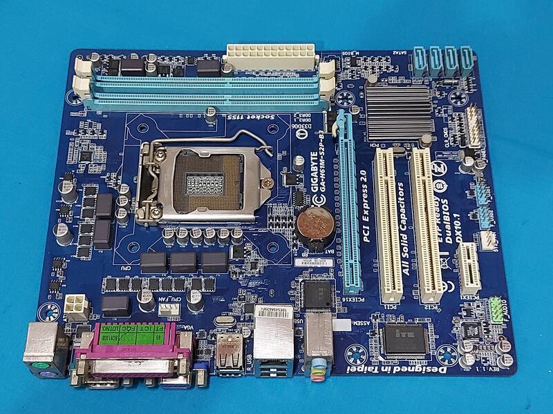 技嘉 Intel 1155主機板  GA-H61M-S2P-B3 (rev. 1.1)  DDR3 16G  二手