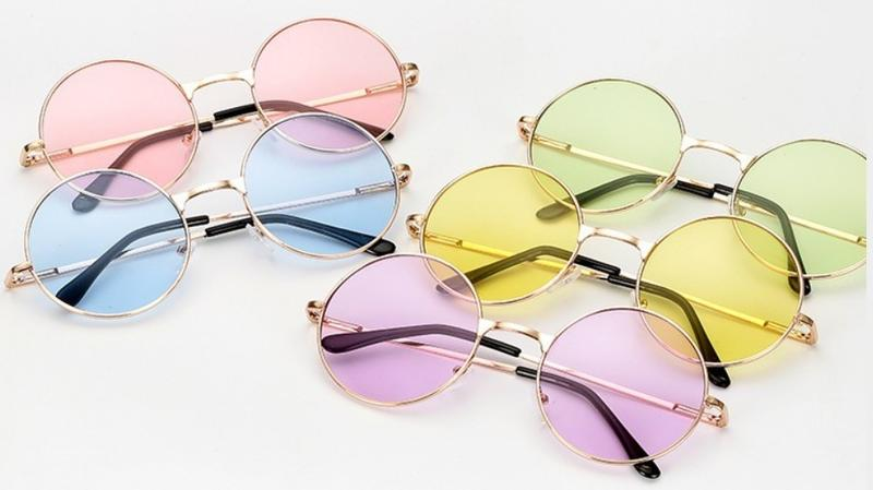 IU  吳亦凡同款 文青 男女 復古有色鏡片圓框眼鏡 太陽眼鏡 圓框眼鏡 復古眼鏡 無度數  IU 墨鏡