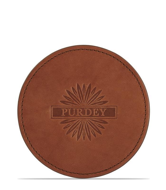 【英國James Purdey & Sons】植鞣馬轡皮革 圓形杯墊單入 真皮杯墊 皮革杯墊 客製刻字 手工英國製