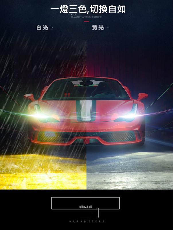 『影片不做假』終極爆亮聚光型三色 LED大燈 60W 9000LM  德國進口 SSC Led晶片 H4 H7 H11
