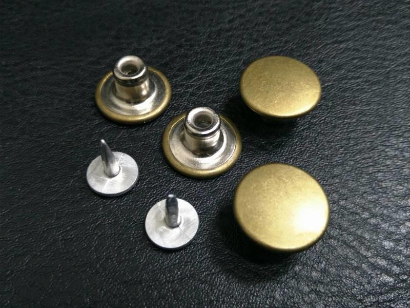 天母配件館   15MM牛仔扣  青古銅 含鋁釘  10對一拍