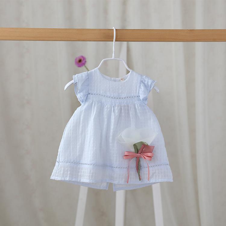童裝夏季女童短袖連衣裙純棉女嬰兒寶寶裙子後開衫飛袖公主裙