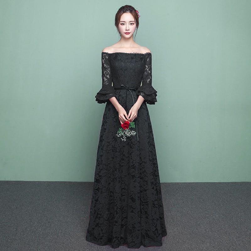 黑色晚禮服2017新款宴會一字肩公司年會女主持人優雅時尚長款顯瘦