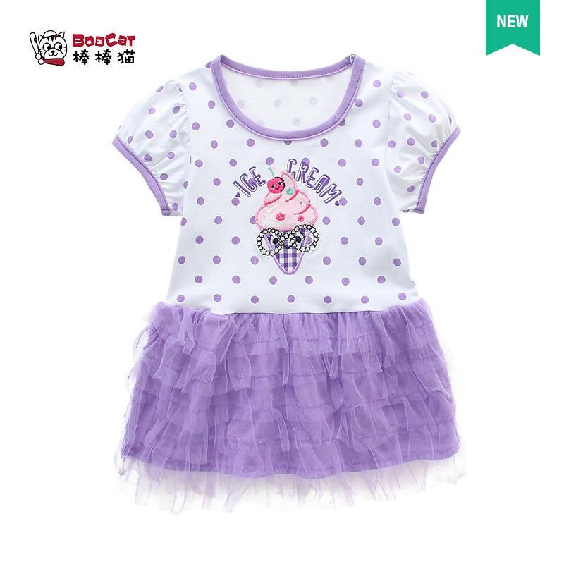 女寶寶連衣裙 女嬰兒夏裝短袖字蛋糕裙純棉小公主女童夏季紗裙子