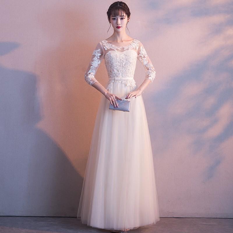 冬季晚禮服裙2017新款宴會名媛公司年會主持人女韓版修身顯瘦長款