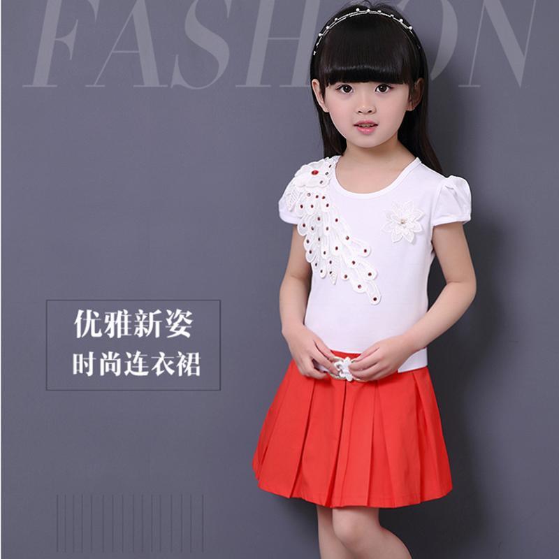 9新款童裝短裙女童百褶半身裙連衣裙夏季韓版純棉兒童中小童11歲