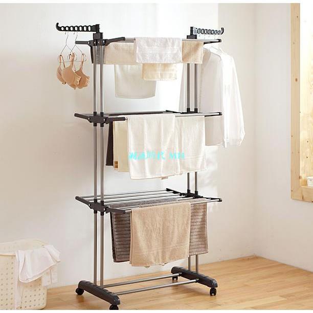 折疊三層晾衣架毛巾浴巾晾曬架室內室外陽臺落地升降曬衣架