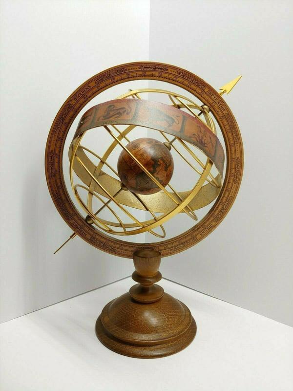 義大利進口 Made in Italy 早期 手工老木製造 大型天體地球儀