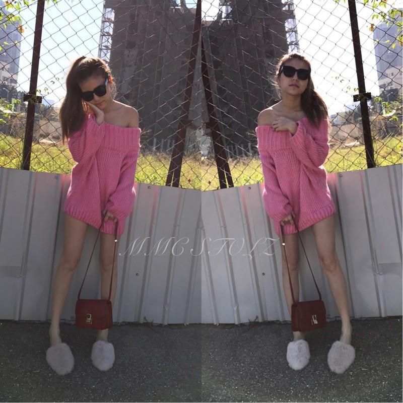 歐美Zara款 韓國東大門 粗針織慵懶隨性 性感露肩露背一字領連身寬鬆寬版毛衣 連衣裙 時尚百搭款
