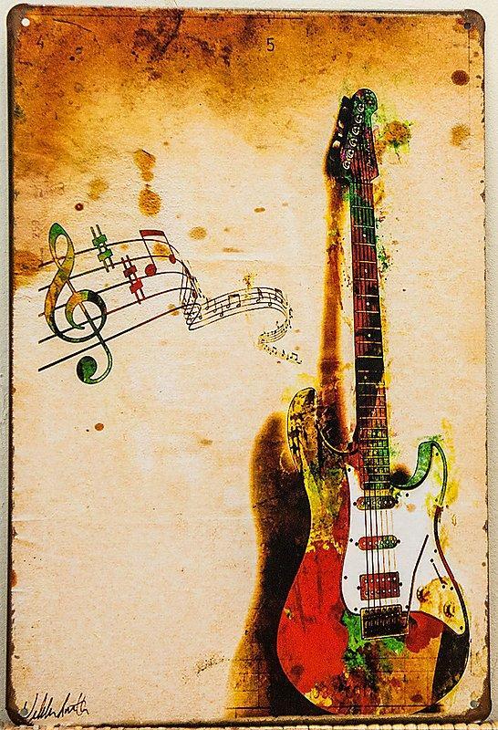 【鐵板畫倉庫】電吉他LOFT美式工業風復古風咖啡廳早午餐廳民宿裝潢裝飾壁畫掛畫鐵版畫鐵皮畫鐵牌畫E144
