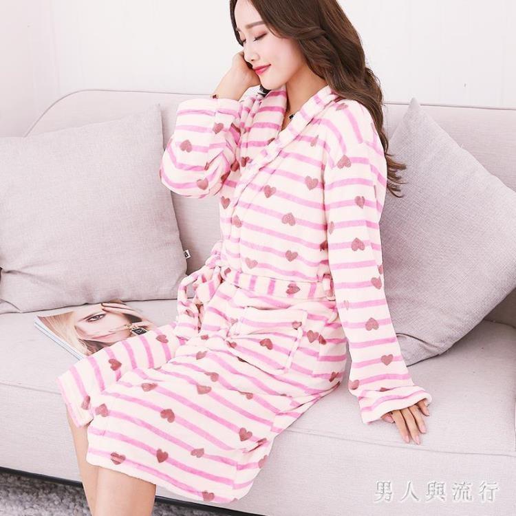 中大尺碼浴袍 秋冬季加長款睡袍女士性感印花加厚珊瑚絨睡衣 DR2078