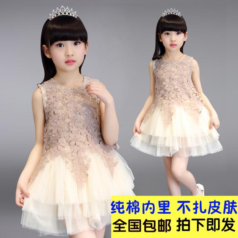 女童連衣裙夏裝中小童公主裙蓬蓬裙子夏季孩無袖純棉背心網紗韓國