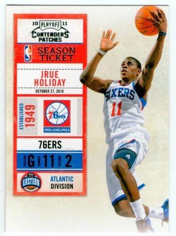(L) NBA-10-11-Contenders Patches #62 費城76人隊明星控衛 Jrue Holiday 最新精美球票設計球員卡一張-夯
