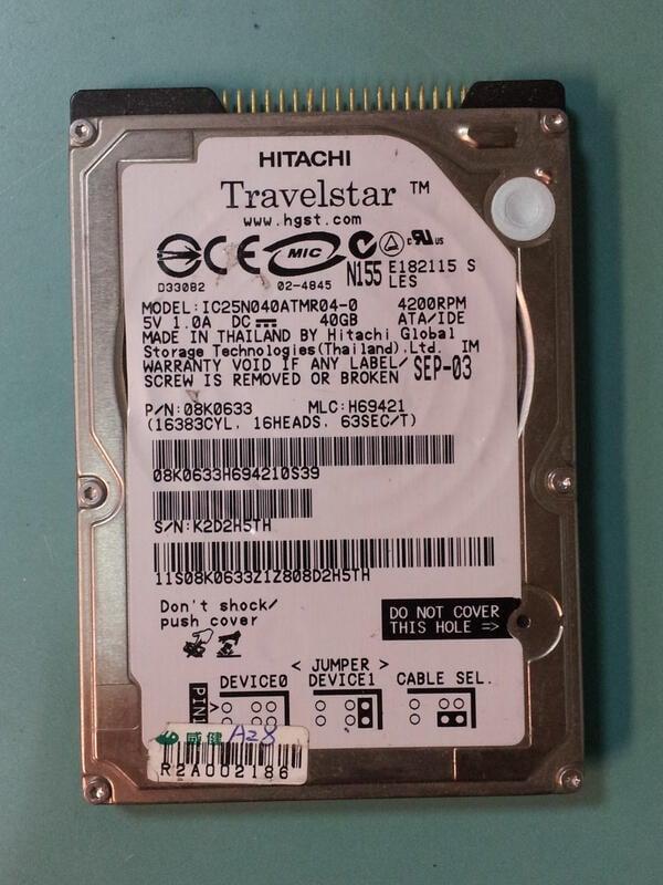 兩顆 故障 HITACHI 2.5吋 IDE介面 筆電硬碟 IC25N040ATMR04-0