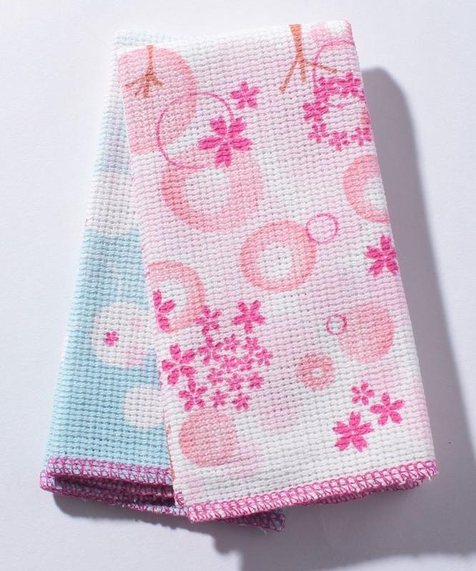 ArielWish日本Afternoon Tea限量浪漫春天櫻花杯抗菌防臭加工廚房抹布櫻桃粉+天空藍泡泡兩入一組-絕版品