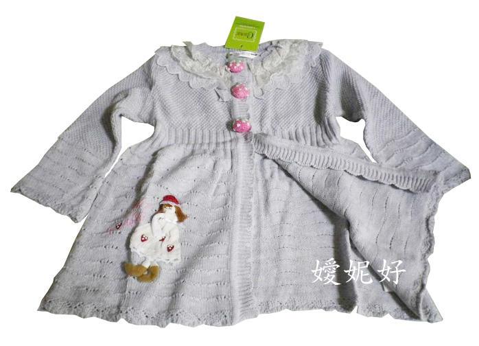 ●嬡妮好童裝舖●全新 女童裝 秋冬款 漂亮的淺灰色針織娃娃上衣 可當罩衫 尺寸100 全長約45cm