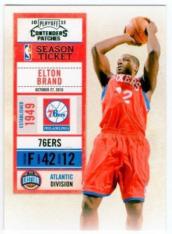 """(L) NBA-10-11-Contenders Patches #63 費城76人隊明星大前鋒""""選秀狀元"""" Elton Brand 最新精美球票設計球員卡一張-夯"""