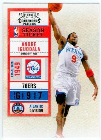 (L) NBA-10-11-Contenders Patches #64 費城76人隊明星小前鋒 Andre Iguodala 最新精美球票設計球員卡一張-夯
