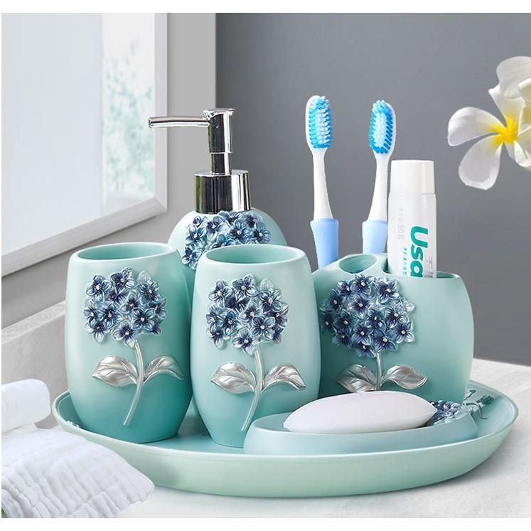 時尚衛浴洗漱擺件五件套創意擺設套裝結婚禮物家居飾品