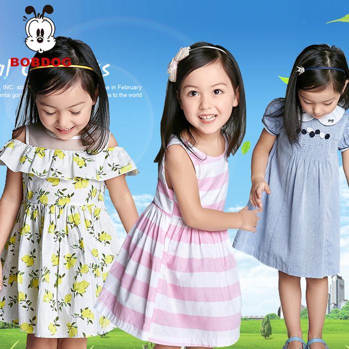 6巴布豆2女童連衣裙1童裝夏季3中小童正品4-5歲寶寶純棉公主裙子