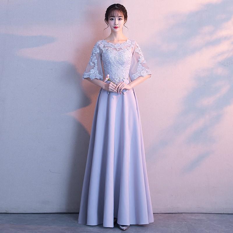 晚禮服女2017新款韓版冬季伴娘服閨蜜裝婚禮公司年會長款端莊大氣