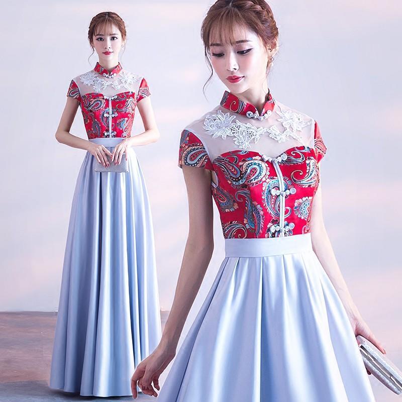 晚禮服女2017新款秋冬季宴會姐妹團伴娘服中式復古長款公主中國風
