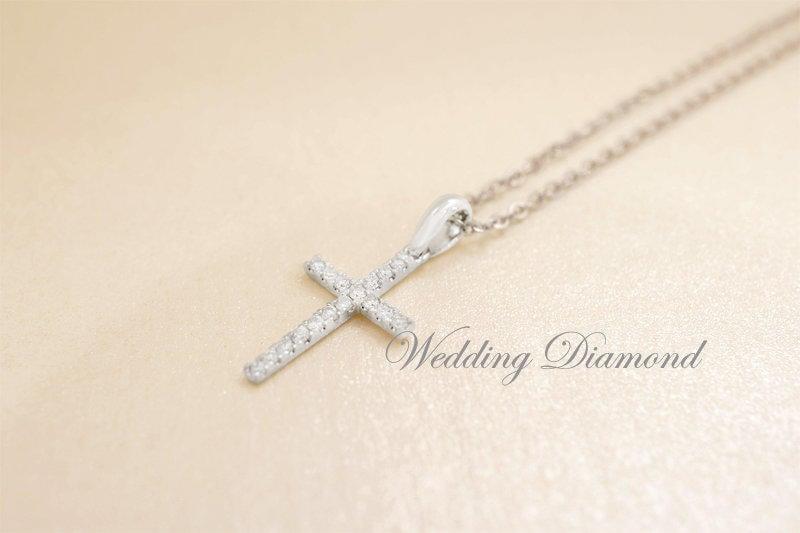 天然鑽石十字架項墬