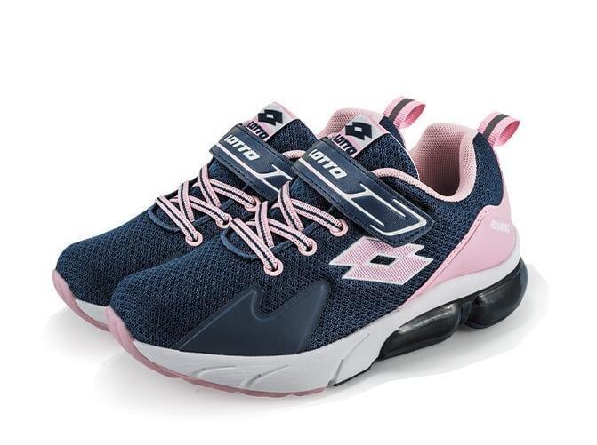 特賣會 LOTTO樂得-義大利第一品牌 童款VOLARE RUN 氣墊跑鞋 0956-深藍粉 超低網購價950元