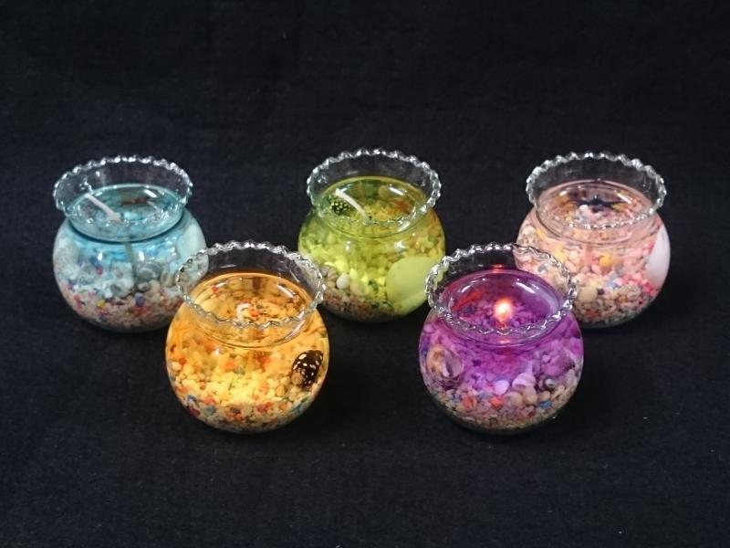 【鑫寶貝】貝殼DIY  小魚缸 果凍蠟 DIY套件(7綠) 一組40元(含砂、臘、貝殼、芯)