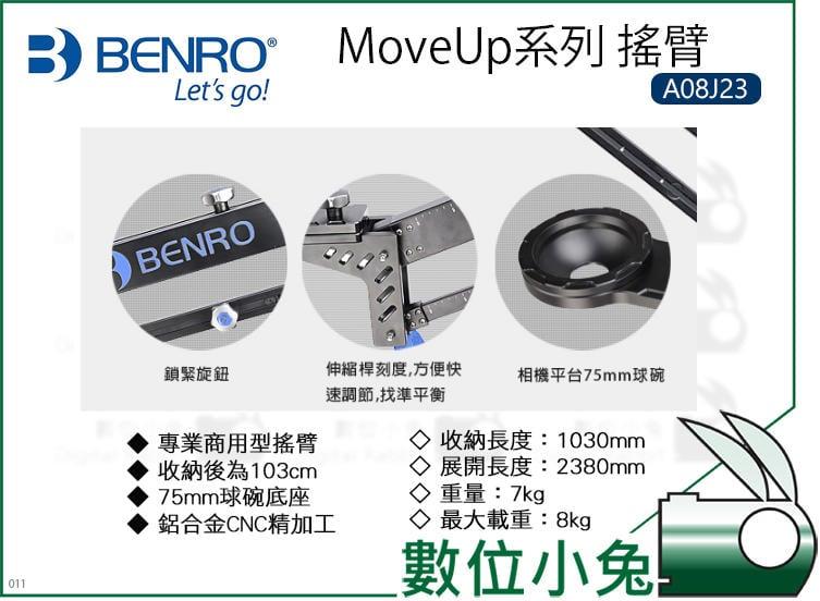 數位小兔【BENRO MoveUp系列 搖臂 A08J23】MoveUp 搖臂 球碗底座 輕巧 鋁合金