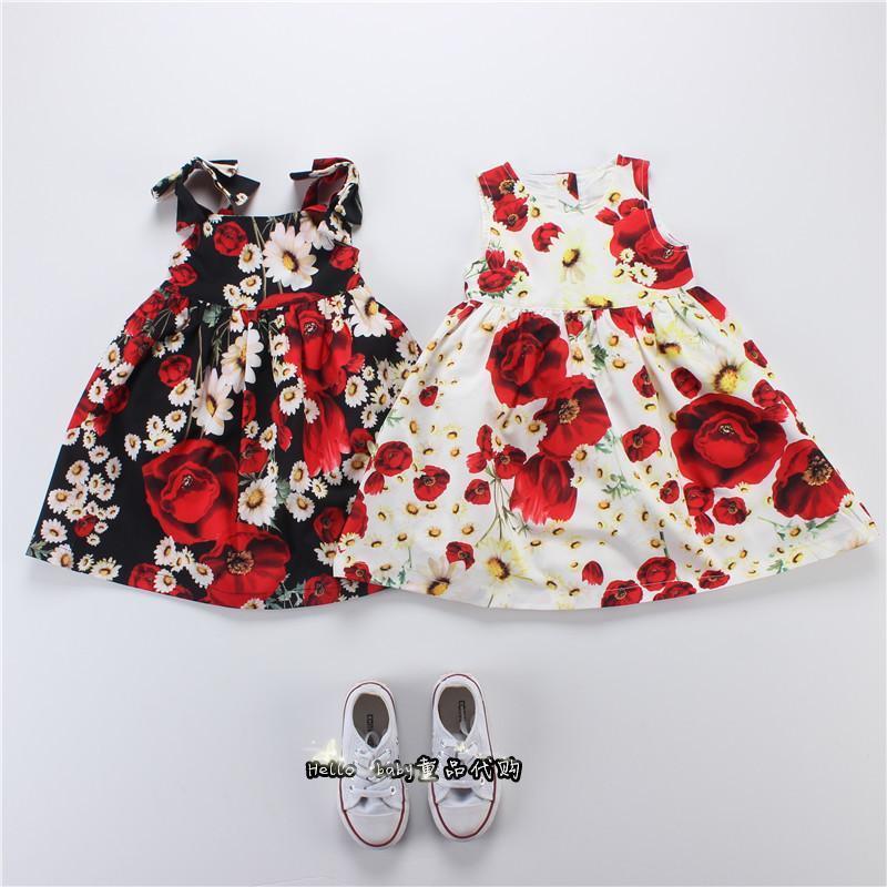 夏季女童寶寶1-5歲純棉歐美風大花朵超美度假沙灘連衣裙