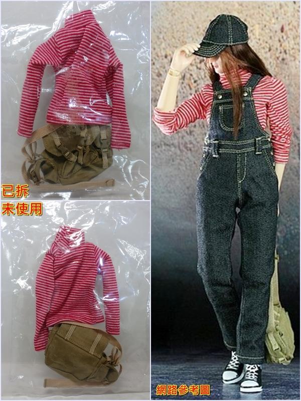 〈免運費 玩具 出清 現貨〉1/6 12吋 服裝配件 TTL tt-6803 紅橫紋長袖衣 斜肩包 可組女恰吉 戰地記者