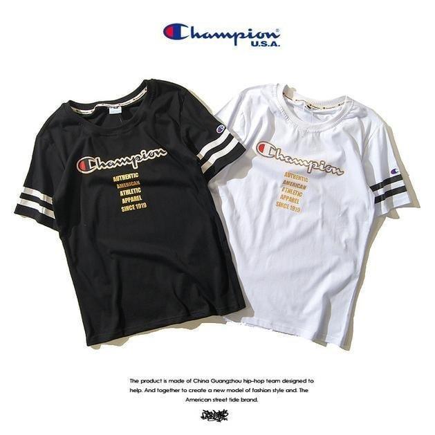 陳冠希冠軍Champion American 燙金t恤余文樂男女情侶短袖T恤上衣