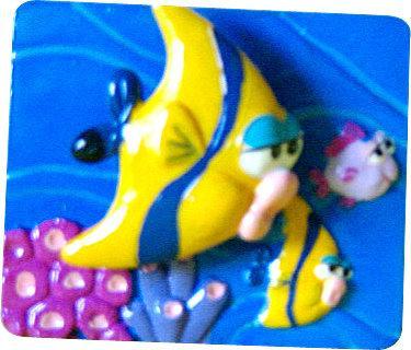 海底世界磁鐵隨意貼~魚會動喔!共有4款(6.2x5.2cm)B-模型雜貨