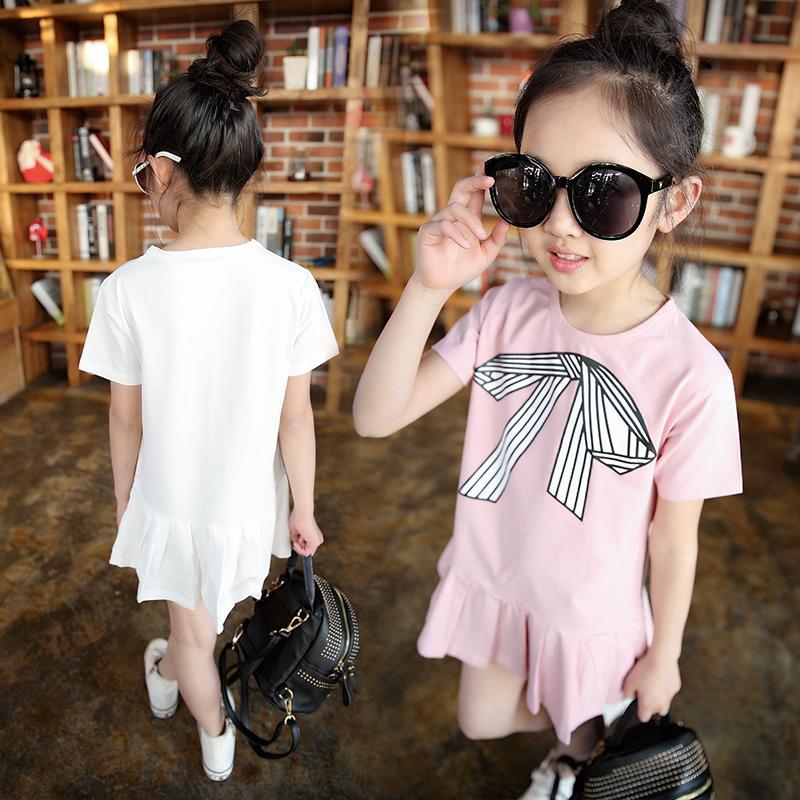 童裝女童連衣裙夏季中大童5-8歲6公主7純棉9短袖夏裝蝴蝶結夏裙子