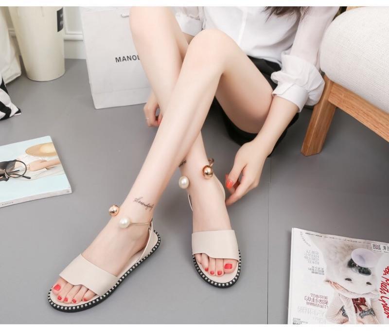 ✨芙✨2017夏季新款韓版露趾涼鞋女平底羅馬鞋珍珠鞋