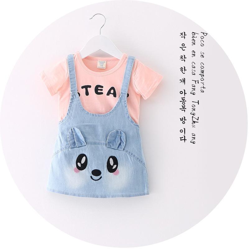 夏季新款女童連衣裙時尚韓版牛仔背帶裙兒童純棉恤卡通背心裙子