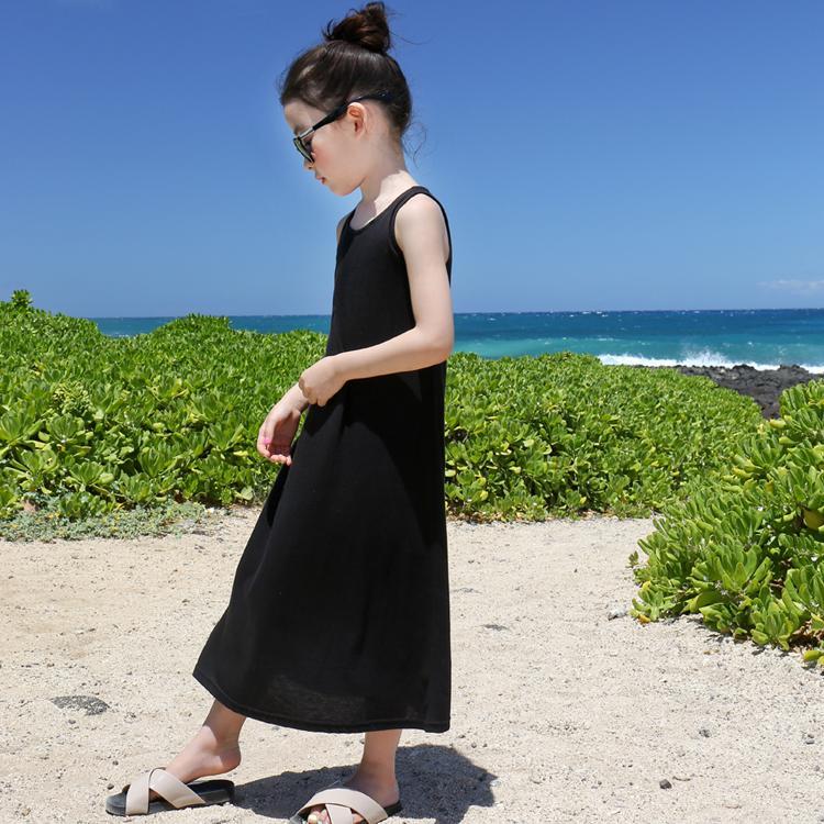 韓版純棉子裝女童夏季黑色沙灘長裙寶寶無袖吊帶背心字連衣裙